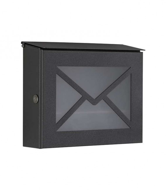 Letterbox PARNO with glass front, stainless steel