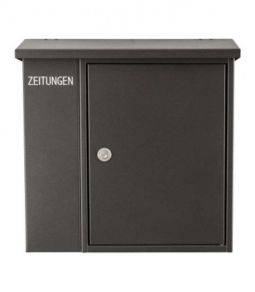 Letterbox with newspaper compartment, graphite