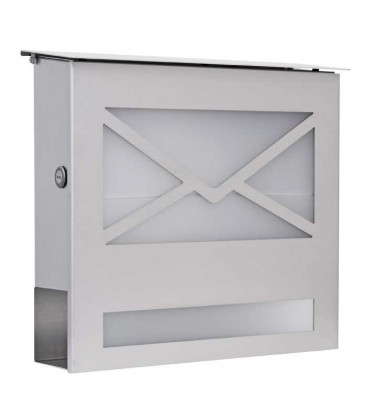 Letterbox with newspaper compartment and glass front, stainless steel