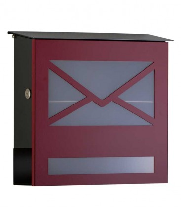 Letterbox with newspaper compartment, front letter design, red ral 3004