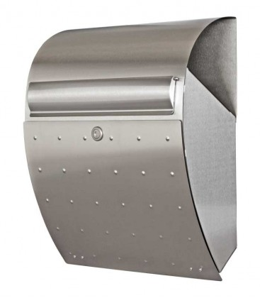 Arched letterbox with newsletter compartment above, stainless steel
