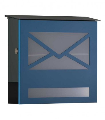 Letterbox with newspaper compartment, front letter design, blue ral 5007