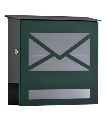 Letterbox with newspaper compartment, front letter design, green ral 6005