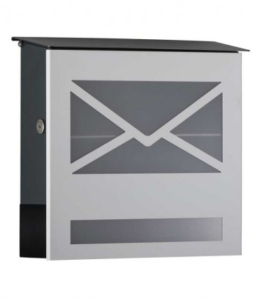 Letterbox with newspaper compartment, front letter design, white ral 9003