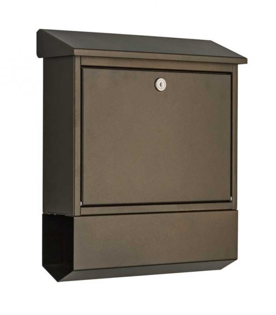 Letterbox with newspaper compartment, mocha brown