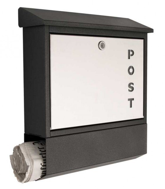 Letterbox with newspaper compartment, color: graphite-grinded