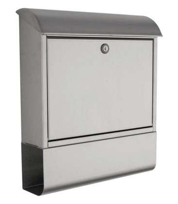 Letterbox with newspaper compartment, stainless steel