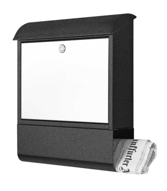 Letterbox with newspaper compartment, graphite-grinded