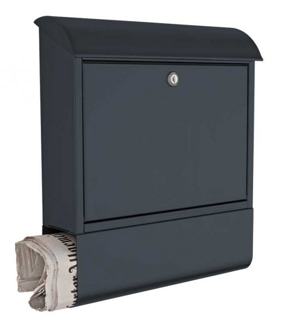 Letterbox with newspaper compartment, grey