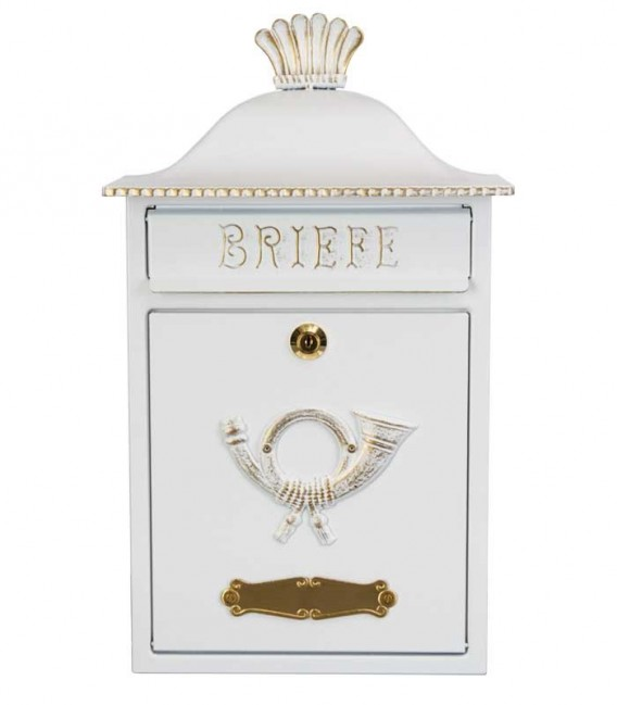 Letterbox MERENO in country house style, white-gold