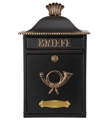 Letterbox MERENO in country house style, black-gold