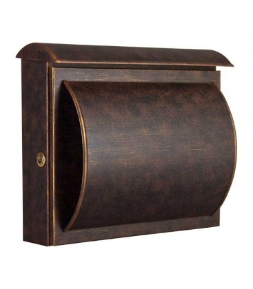 Letterbox QUELO with newspaper department, brown-gold