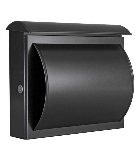 Letterbox QUELO with newspaper department, black-mica