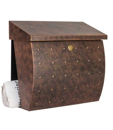 Letterbox KROSIX with newspaper department, stainless steel brown-gold