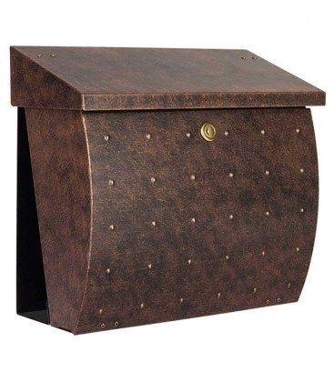 Letterbox KROSIX with newspaper compartment, brown-gold