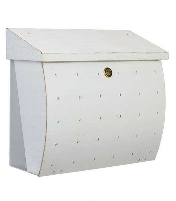 Letterbox KROSIX with newspaper compartment, stainless steel white-gold
