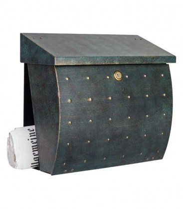 Letterbox KROSIX with newspaper compartment, stainless steel green-gold