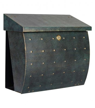 Letterbox KROSIX with newspaper compartment, green-gold