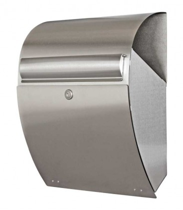 Letterbox QUINO with newspaper compartment, stainless steel