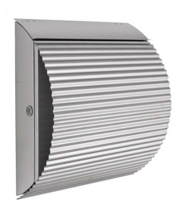 Letterbox ONDA with newspaper compartment, stainless steel