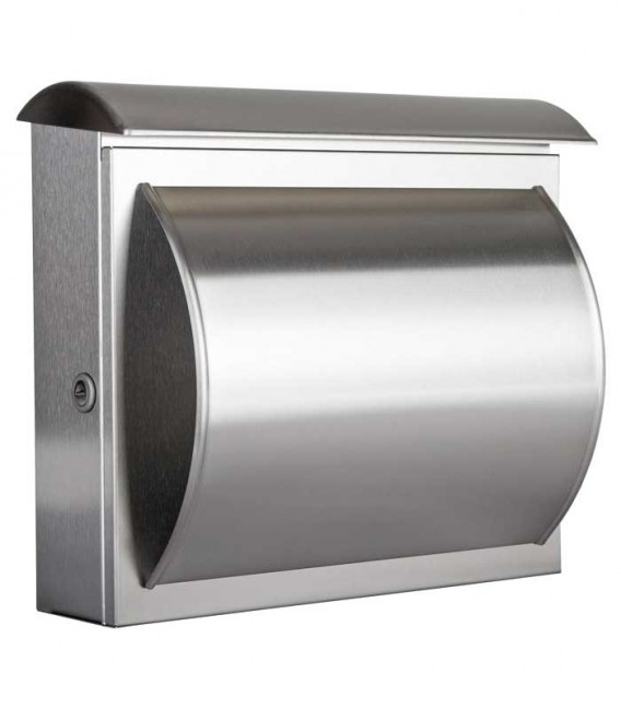 Letterbox QUELO with newspaper compartment, stainless steel