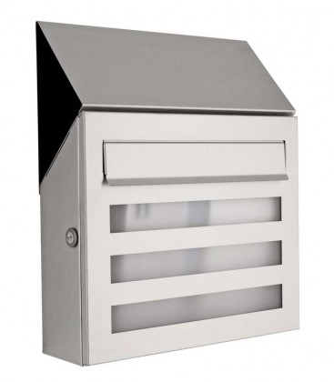 Letterbox TERNO with newspaper compartment and glass front, stainless steel