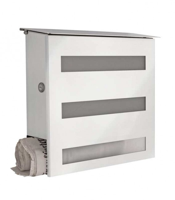 Letterbox GECCO with newspaper department and glass front, stainless steel