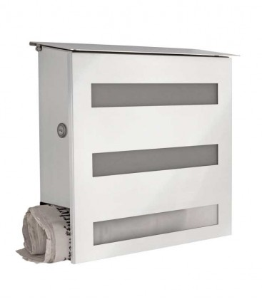 Letterbox GECCO with newspaper compartment and glass front, stainless steel