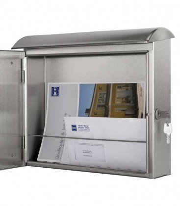 Letterbox QUELO-TWO with newspaper compartment, stainless steel