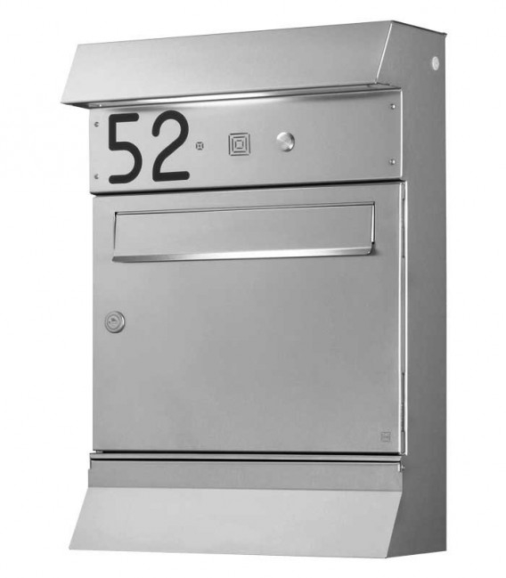 Letterbox MALYPSO-FIX with newspaper compartment, stainless steel
