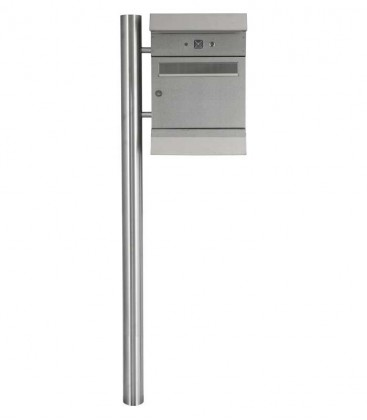 Letterbox MALYPSO-KOMBI with newspaper compartment, stainless steel
