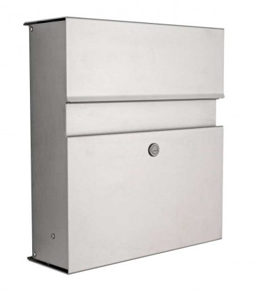 Letterbox CALMO with newspaper compartment, stainless steel
