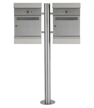 Standing letterbox MALYPSO-KOMBI with newspaper compartment, for doweling, 2 letterboxes