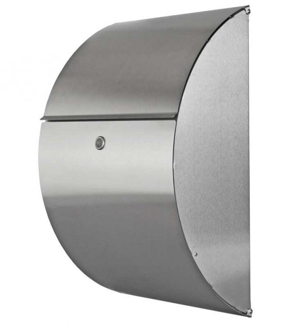 Letterbox RIADO with newspaper compartment, stainless steel