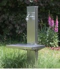 Garden standpipe with shelf, stainless steel