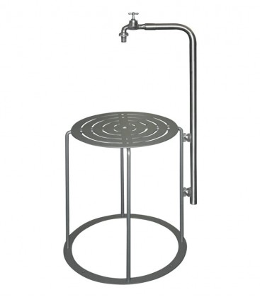Round garden water station with table, graphite