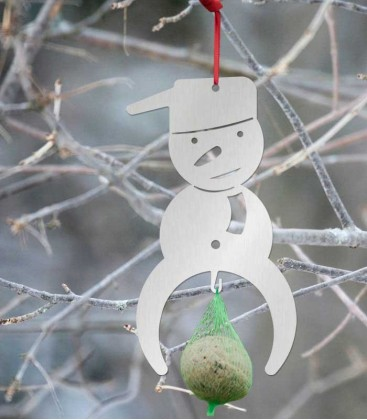 Hanging Bird Food Holder SNOWMAN, stainless steel
