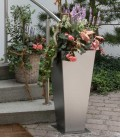 Stainless steel outdoor planter, 79 cm
