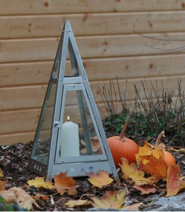 Decorative Candle Lantern Pyramid 50 cm, Stainless Steel