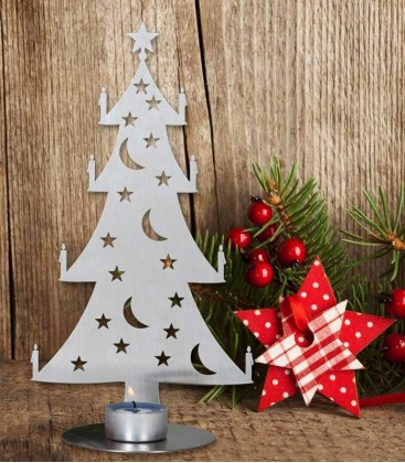 Tea Light Holder CHRISTMAS TREE big, Stainless Steel