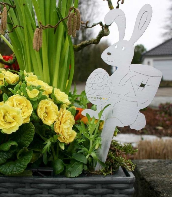 stainless steel floral pick EASTER BUNNY