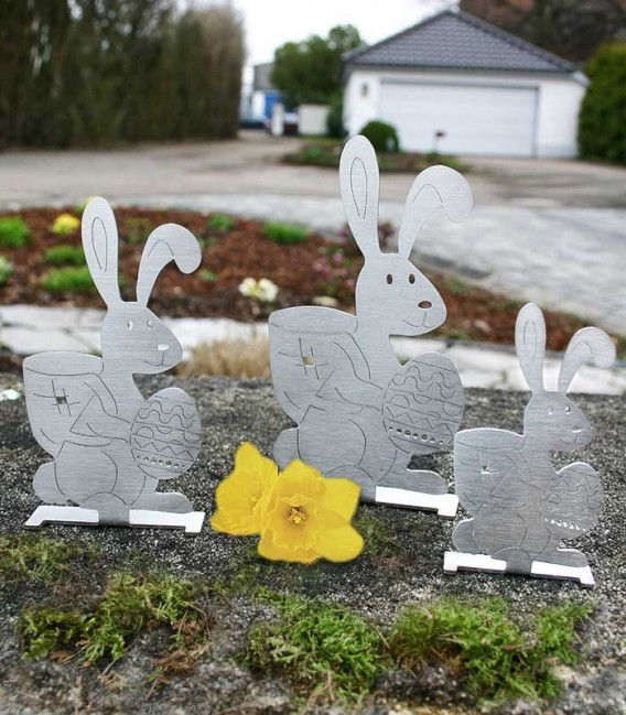Stainless steel deco-set EASTER BUNNY