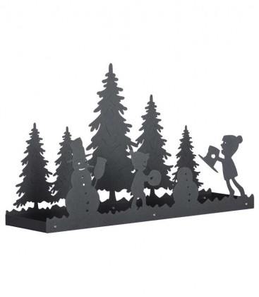 Graphite deco tray snowman & kids