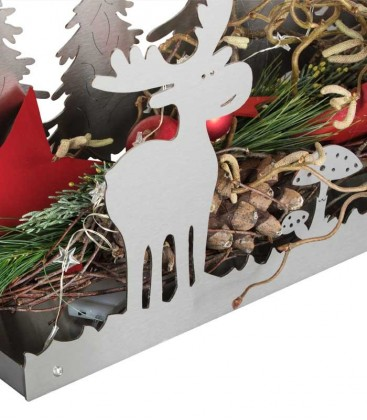 Stainless steel deco tray elk & tree