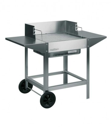 Stainless charcoal grill, side tables & mobile