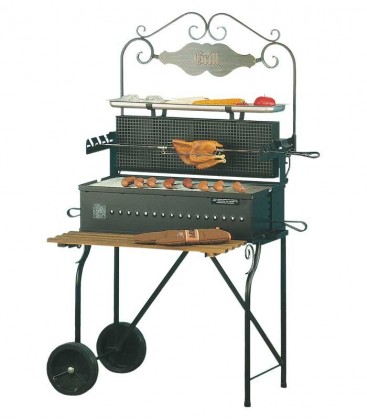 Charcoal grill SMOKY, black, retro-design
