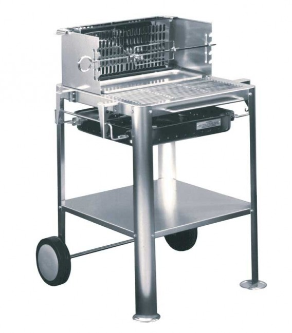 Stainless charcoal grill TRENDY-MOBIL, mobile