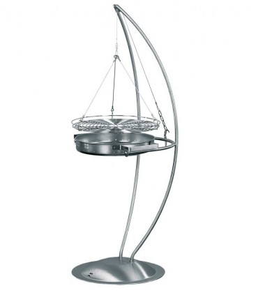 Stainless charcoal grill SOLINO, cooking grate rotatable