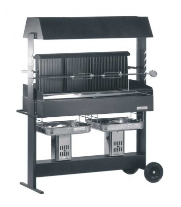 Grill PROFI, two cooking areas, black & mobile