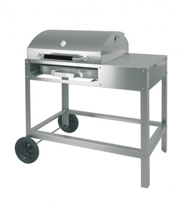 Stainless charcoal grill DOCCO lid on cooking, mobile